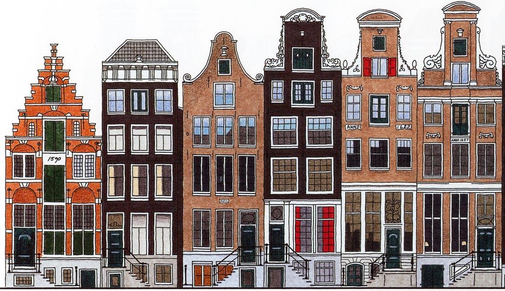 De herengracht de amsterdamse grachtengordel in kleur for Huizen tekenen